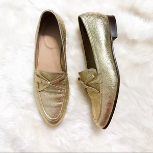J Crew   Academy metallic gold leather loafer